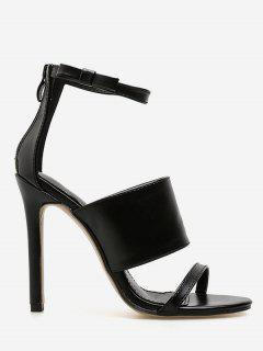 Stiletto Heel Ankle Strap Sandals - Black Eu 38