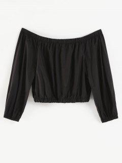 Plus Size Off Shoulder Crop Jacket - Black 1x