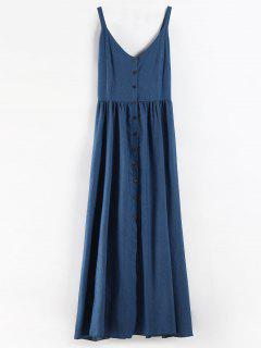 Plus Size Button Up Chambray Maxi Dress - Blue 3x