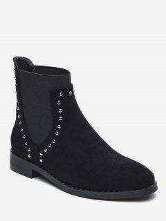 Stud Decorative Suede Ankle Boots - Black Eu 38