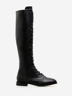 PU Leather Lace Up Knee High Boots - Black Eu 36