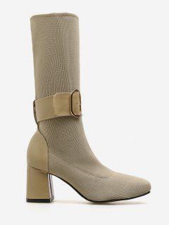 Buckle Strap Block Heel Mid Calf Boots - Apricot Eu 37
