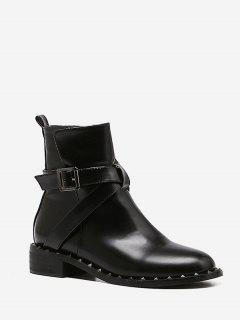 Buckle Strap Rivet Short Boots - Black Eu 39
