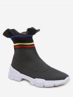 Rainbow Striped Flounce Ankle Boots - Army Green Eu 40