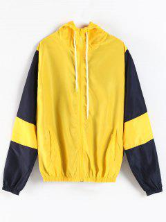 Color Block Hooded Zipper Jacket - Yellow M