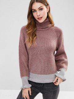 Suéter Cuello Alto Color Block De Cuello Alto - Multicolor-a