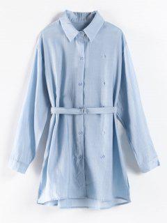 Chemise Longue Fendue Ceinturée - Bleu Pastel