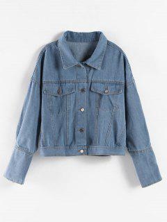 Drop Shoulder Button Up Denim Jacket - Denim Blue