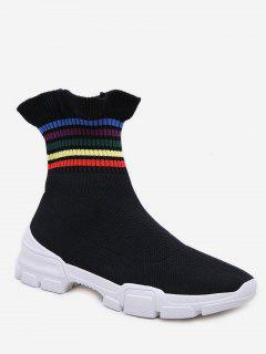 Rainbow Striped Flounce Ankle Boots - Black Eu 37