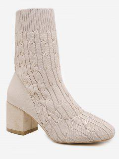 Cable Knit Chunky Heel Short Boots - Warm White Eu 37