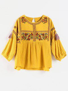 Flower Embroidered Tassel Blouse - Sun Yellow S