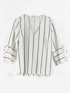 Striped V Neck Tie Sleeve Blouse - White S