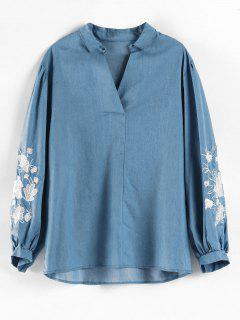 Plus Size Embroidered V Neck Top - Blue 1x
