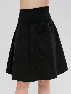 Button Up A Line Shirt Skirt - Black M
