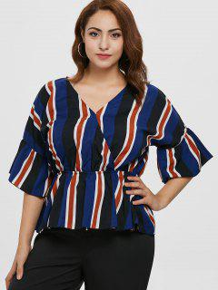 ZAFUL Plus Size Striped Surplice Blouse - Deep Blue 4x