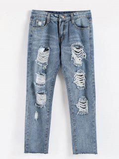Raw Hem Distressed Casual Jeans - Jeans Blue L