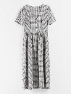 Button Up Plaid Dress - Multi S