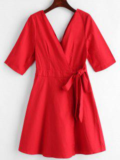 Woven Crossover Wrap Tie Up Dress - Red M