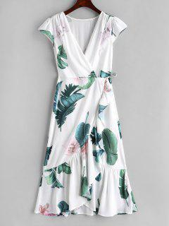 Floral Leaf Ruffle Wrap Dress - White L
