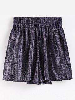 Velvet Glitter Casual Shorts - Plum Purple L