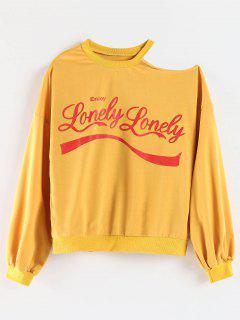 Open Shoulder Printed Sweatshirt - Orange Gold S