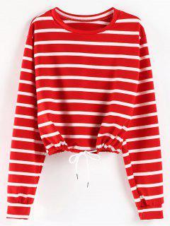 Striped Oversized Sweatshirt - Red M
