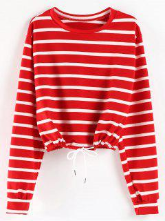 Striped Oversized Sweatshirt - Red L