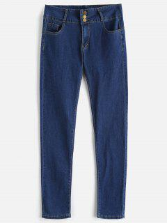 High Waisted Three Button Skinny Jeans - Blueberry Blue M