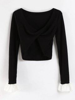 Cowl Neck Knitted Bell Sleeve Tee - Black S