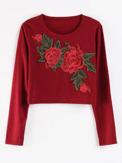 Embroidery Boxy Tee - Red Wine M