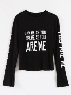 Camiseta De Manga Corta Con Estampado De Letras - Negro