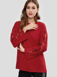 Lace-up Tunic Sweatshirt - Lava Red M