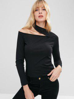 Cutout Ribbed Long Sleeve T-shirt - Black M