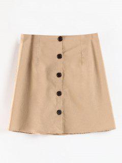 A Line Button Up Skirt - Light Khaki S