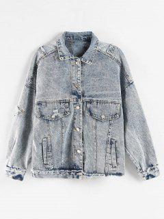 Bleach Wash Ripped Denim Jacket - Mist Blue L