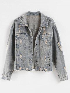 Frayed Hem Ripped Pocket Jean Jacket - Mist Blue Xl