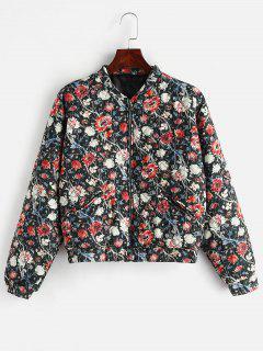 Flower Padded Drop Shoulder Jacket - Multi S