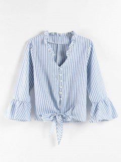 Flare Sleeve Striped Knot Blouse - Light Blue M
