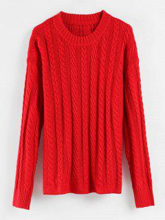 Cable Knit Drop Shoulder Sweater - Red