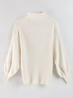 Drop Shoulder Mock Neck Sweater - White