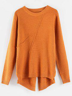 Textured High Low Slit Sweater - Orange Salmon