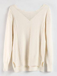 Lace Up High Low Slit Sweater - Crystal Cream