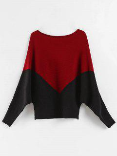 Batwing Sleeve Color Block Sweater - Multi