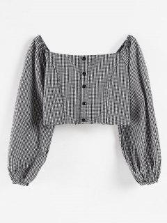 Square Neck Gingham Crop Blouse - Black L