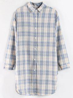 Long Plaid Side Slit Shirt - Multi