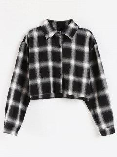Plaid Crop Shirt - Black M