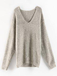 Heather V Neck High Low Sweater - Gray