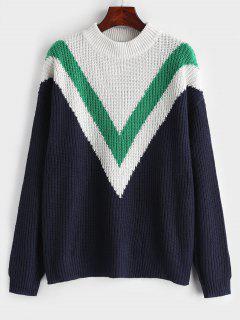 Zig Zag Drop Shoulder Sweater - Navy Blue M