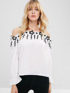 Cold Shoulder Appliques Casual Blouse - White