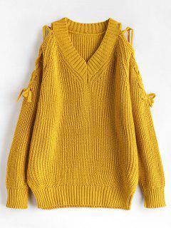 Schlitz Chunky Sweater Mit Schnürung - Gelb